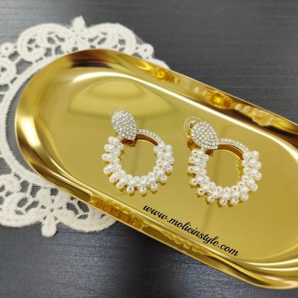 Pearl Diamond Circle Earrings